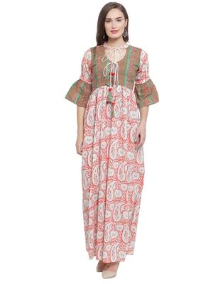 Peach Multi Hand Block Print Maxi Dress