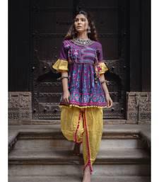 Deep Purple khadi embroidered kedia and tulip pants