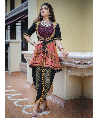 Black long unique khaid kedia with maharano yoke and pants set