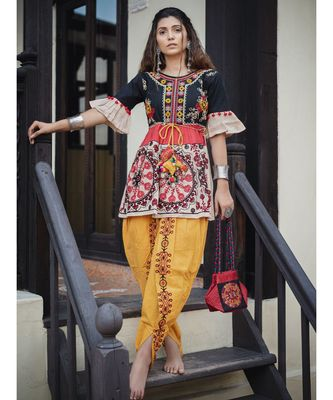Black big floral khadi kedia set with handmade latkan