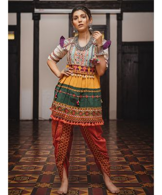 Banjaran yoke and flair in harmony with shell lace kedia set