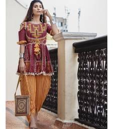 Deep wine folk motif maharani yoke kedia with stripie tulip pants set