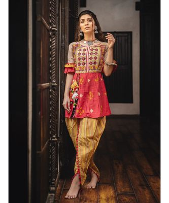 Heavily embroidered maharani yoke with contrast flair kedia and tulip pants set