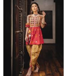 Heavily embroidered maharani yoke with contrast flair kedia and tulip pants set