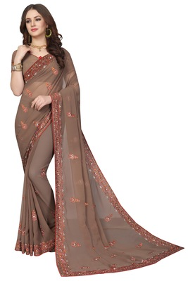 Light brown embroidered georgette saree with blouse
