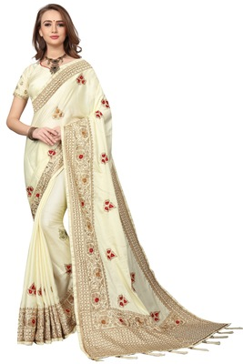 Cream embroidered silk blend saree with blouse