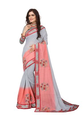 Grey embroidered cotton silk saree with blouse