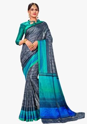 Dark grey printed linen saree with blouse