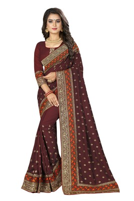 Maroon embroidered art silk saree with blouse