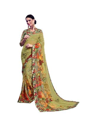 Olive printed georgette saree with blouse