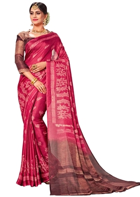 Dark pink printed linen saree with blouse