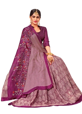 Purple printed linen saree with blouse