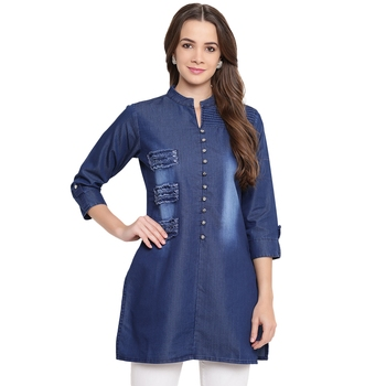 Blue plain denim kurtas-and-kurtis