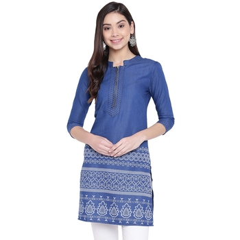 Blue printed denim kurtas-and-kurtis