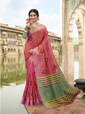 Pink embroidered cotton saree with blouse