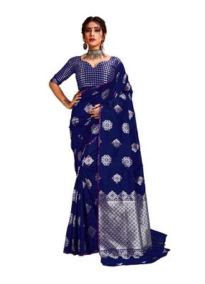 Blue woven banarasi silk blend saree with blouse