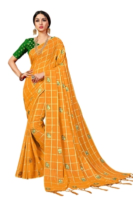 Mustard embroidered art silk saree with blouse
