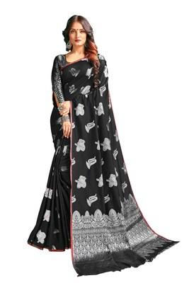 Black woven banarasi silk blend saree with blouse