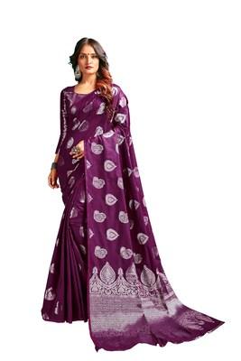 Magenta woven banarasi silk blend saree with blouse