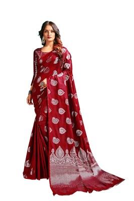 Red woven banarasi silk blend saree with blouse