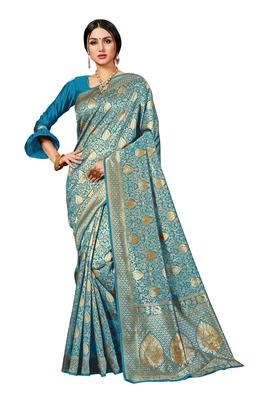 Turquoise woven banarasi silk blend saree with blouse