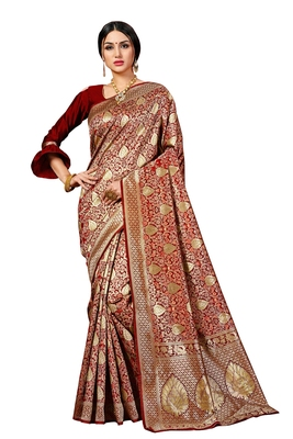 Maroon woven banarasi silk blend saree with blouse