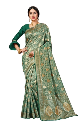Green woven banarasi silk blend saree with blouse