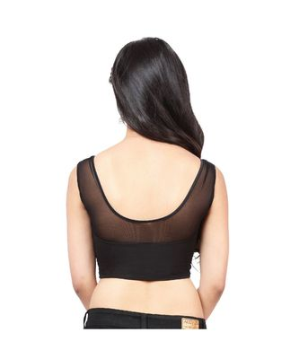 Black Shimmer Non-Padded Designer Ready Made Saree Blouse