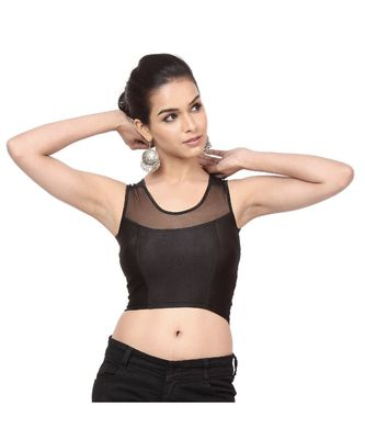 Black Shimmer Non-Padded Designer Ready Made Saree Blouse