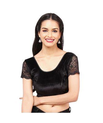 Black Velvet Non-Padded Designer Ready Made Saree Blouse