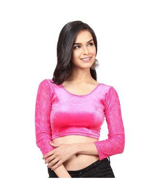Pink Velvet  Non-Padded designer ready made saree blouse