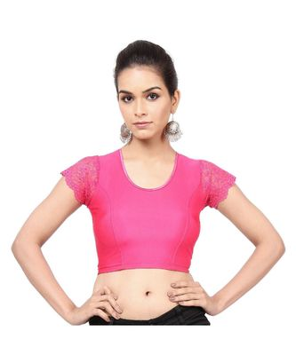 Pink Nylon Non-Padded Designer Ready Made Saree Blouse