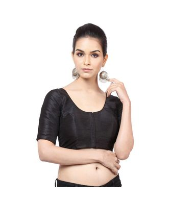 Black Mulberry Padded Designer Ready Made Saree Blouse