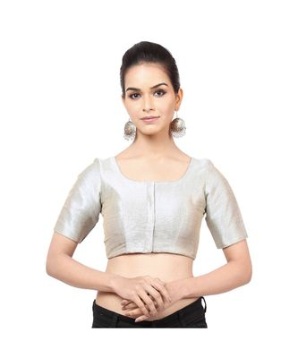 grey mulberry Padded designer ready made saree blouse