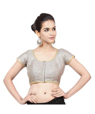 Grey Dupion Silk  Padded Designer Ready Made Saree Blouse