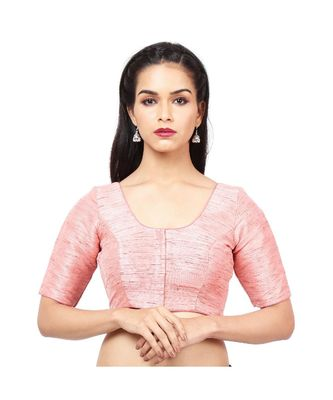 Light Pink Mulberry Padded Designer Ready Made Saree Blouse