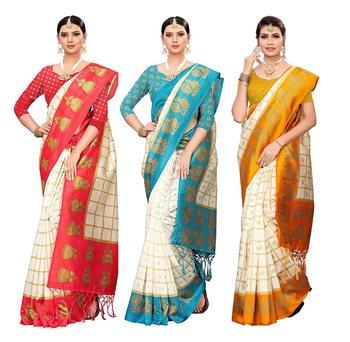 multicolor woven art silk saree with blouse ( set 3)