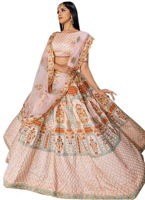 Peach embroidered silk unstitched lehenga