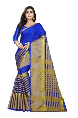 blue woven polyester saree with blouse