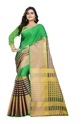 green woven polyester saree with blouse