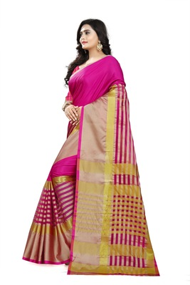 pink woven polyester saree with blouse