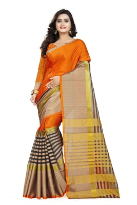 orange woven polyester saree with blouse