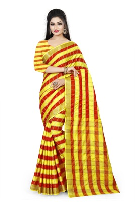 red woven polyester saree with blouse