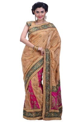 gold embroidered silk blend saree with blouse