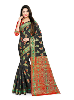 black woven polyester saree with blouse