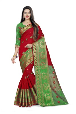 magenta woven silk blend saree with blouse
