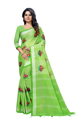 green embroidered linen saree with blouse