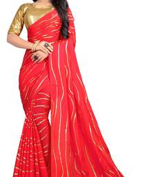 Dark pink printed faux georgette saree with blouse