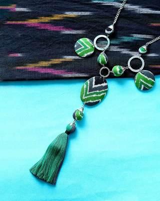 Green Coloured Ikkat Pride Long Necklace