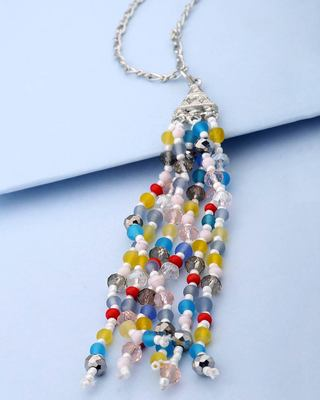 Pop Colored Beads Dangled Tassel Designer Necklace For Women